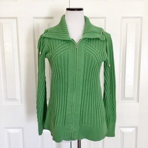Chico's green chunky knit zip up sweater